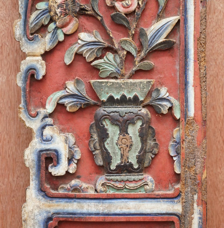 Chinese circa 1860 Antique Victorian Original Paint Carved Wood Wall Panel For Sale 2