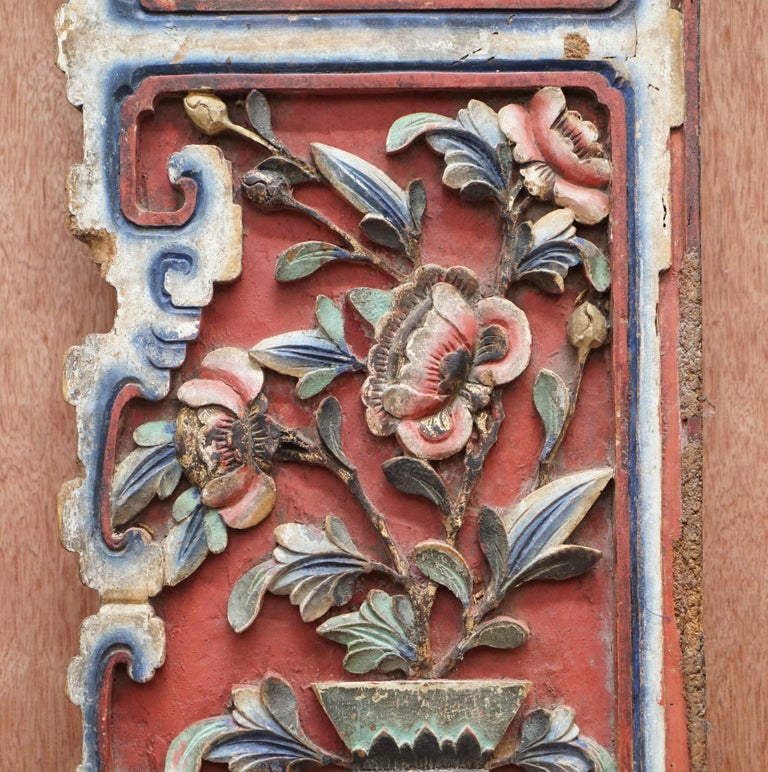 Chinese circa 1860 Antique Victorian Original Paint Carved Wood Wall Panel For Sale 3