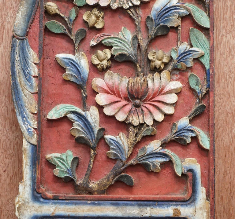 Chinese circa 1860 Antique Victorian Original Paint Carved Wood Wall Panel For Sale 4