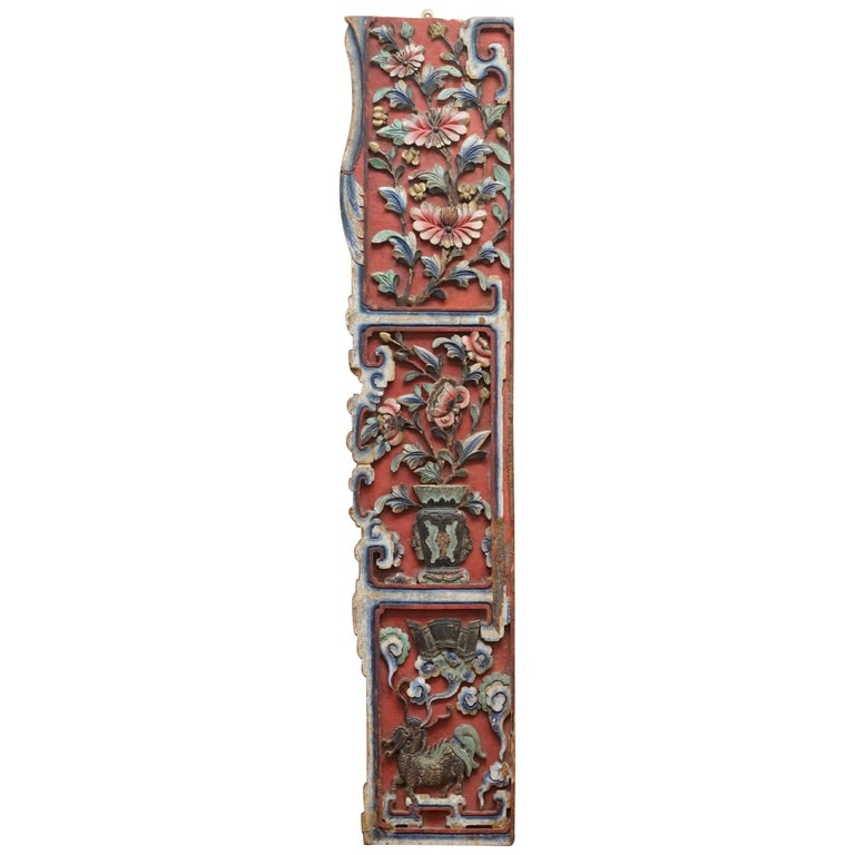 Chinese circa 1860 Antique Victorian Original Paint Carved Wood Wall Panel For Sale