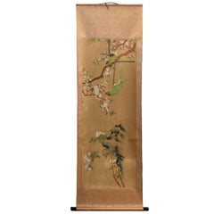 Chinese Classic Painting Green Parrot Amid Pear Blossoms