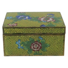 Chinese Yellow Enamel Cloisonne and Brass Jewelry Box