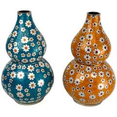 Chinese Cloisonné Daisy Motif Double Gourd Vases Attributed, Fabienne Jouvine