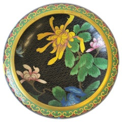 Chinese Cloisonné Enamel and Brass Bowl with Flowers and Birds