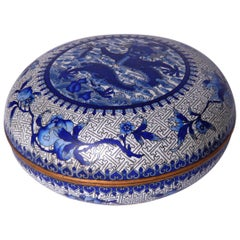 Chinese Cloisonne Enamel Blue and White Covered Box