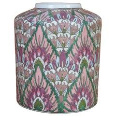 Chinese Cloisonné Enameled Lotus Flower Cermaic Urn Flower Vase Jardinière