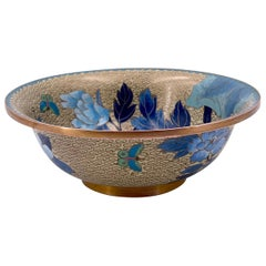 Chinese Cloisonné Footed Bowl with Floral Butterfly Pattern