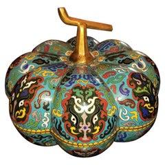 Chinese Cloisonne Pumpkin Lidded Box