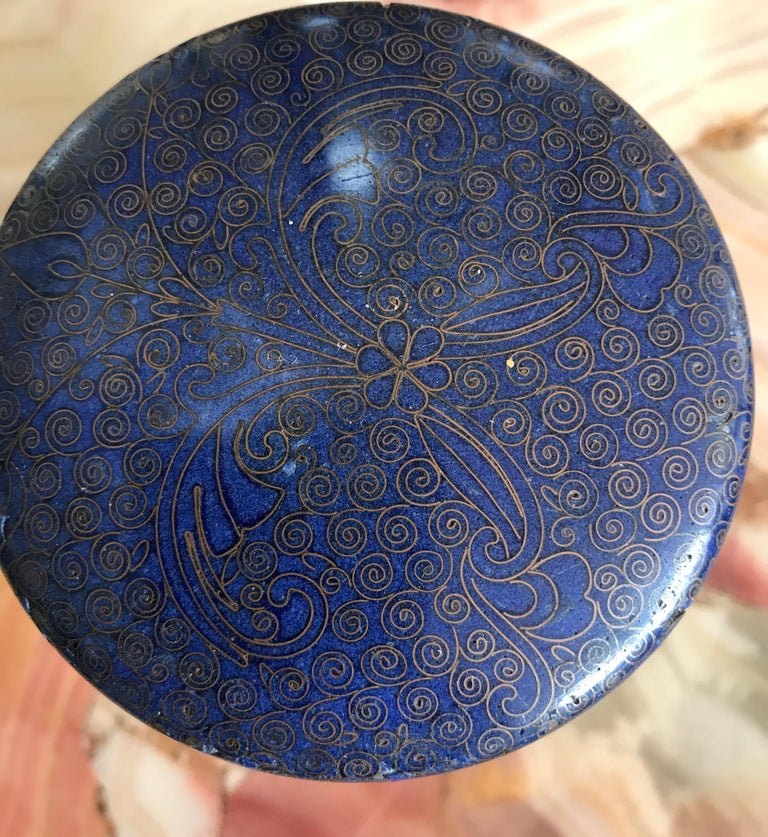 Chinese Cloisonne Round Box For Sale 12