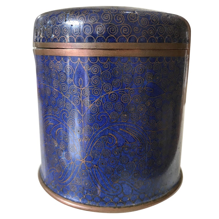 Chinese Cloisonne Round Box For Sale
