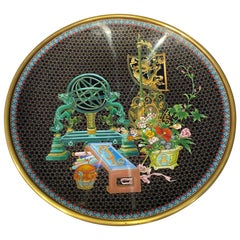 Chinese Cloisonne 'Scholar's Still Life' Charger