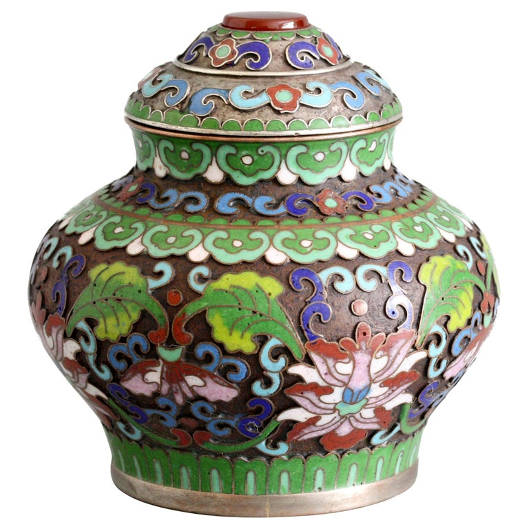 Chinese Cloisonne Silver Plated Lidded Cloisonne Pot For Sale