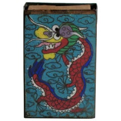 Chinese Cloisonne Vesta Match Case with Dragon and Pearl design, 19th Century