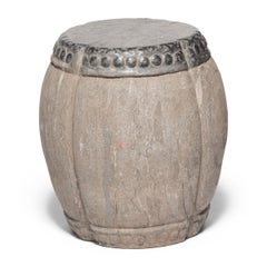 Chinese Clover Form Stone Drum Stool