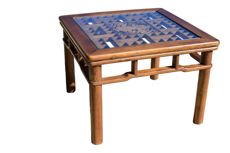 Chinese Coffee Table Side Table with Antique Longevity Screen For Sale 5