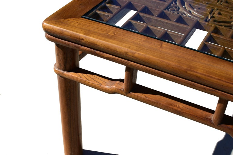 Hand-Carved Chinese Coffee Table Side Table with Antique Longevity Screen For Sale