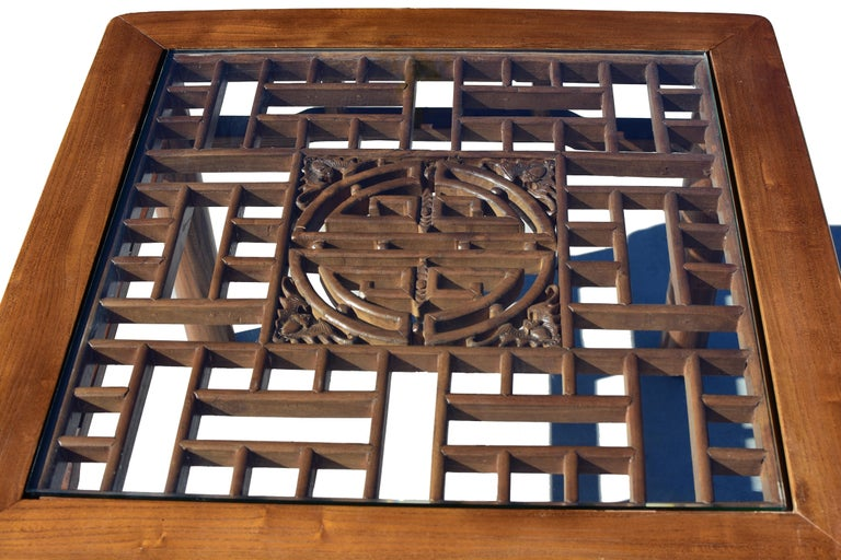 Chinese Coffee Table Side Table with Antique Longevity Screen In Good Condition For Sale In Somis, CA