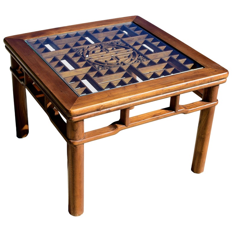 Chinese Coffee Table Side Table with Antique Longevity Screen For Sale