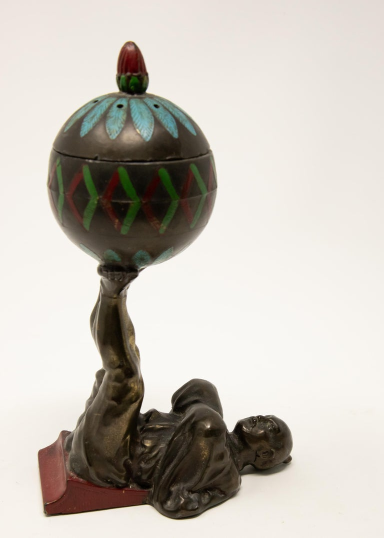Arts and Crafts Chinese Cold-Painted Bronze Censer For Sale