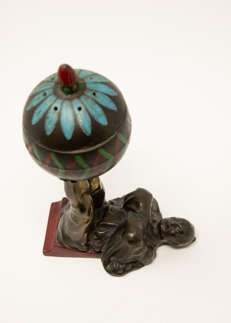 Metalwork Chinese Cold-Painted Bronze Censer For Sale