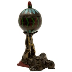 European Chinoiserie Cold-Painted Bronze Censer