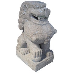 Chinese Concrete Male Foo Dog Guardian Lion Statue Sculpture Fu Feng Shui