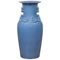 Chinese Contemporary Ceremonial Altar Vase with Crackled Blue Patina