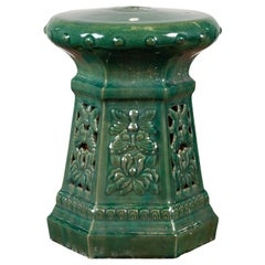 Chinese Contemporary Green Glazed Garden Seat with Floral and Butterfly Décor
