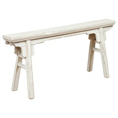 Chinese Contemporary White Painted Wooden Ming Style Bench with A-Form Base