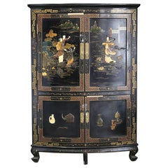 Chinese Corner Cabinet in Black Lacquer and Dyed Soapstone