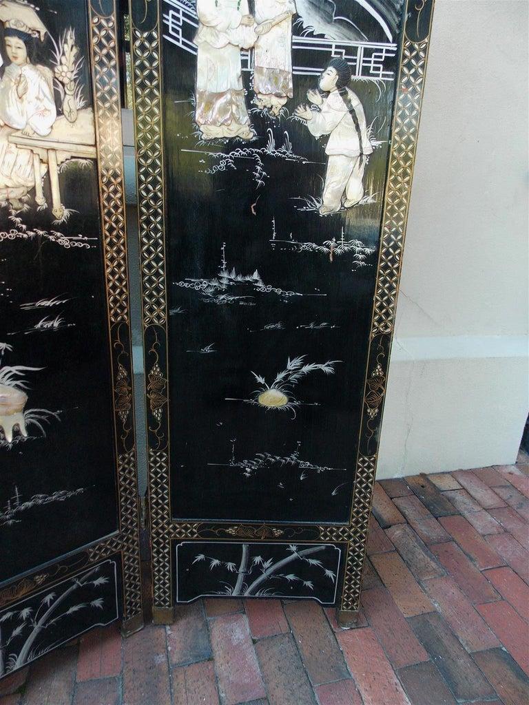 Chinese Coromandel Black Lacquer Figural and Landscape Bone Screen, 20th Century For Sale 6