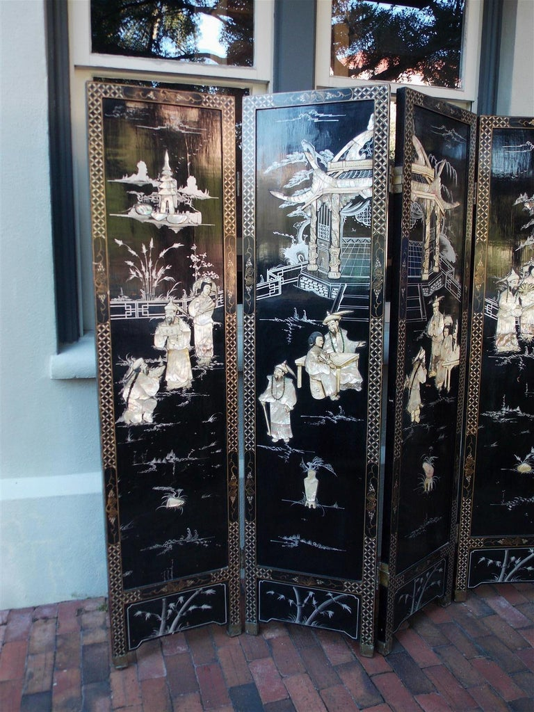 Chinoiserie Chinese Coromandel Black Lacquer Figural and Landscape Bone Screen, 20th Century For Sale
