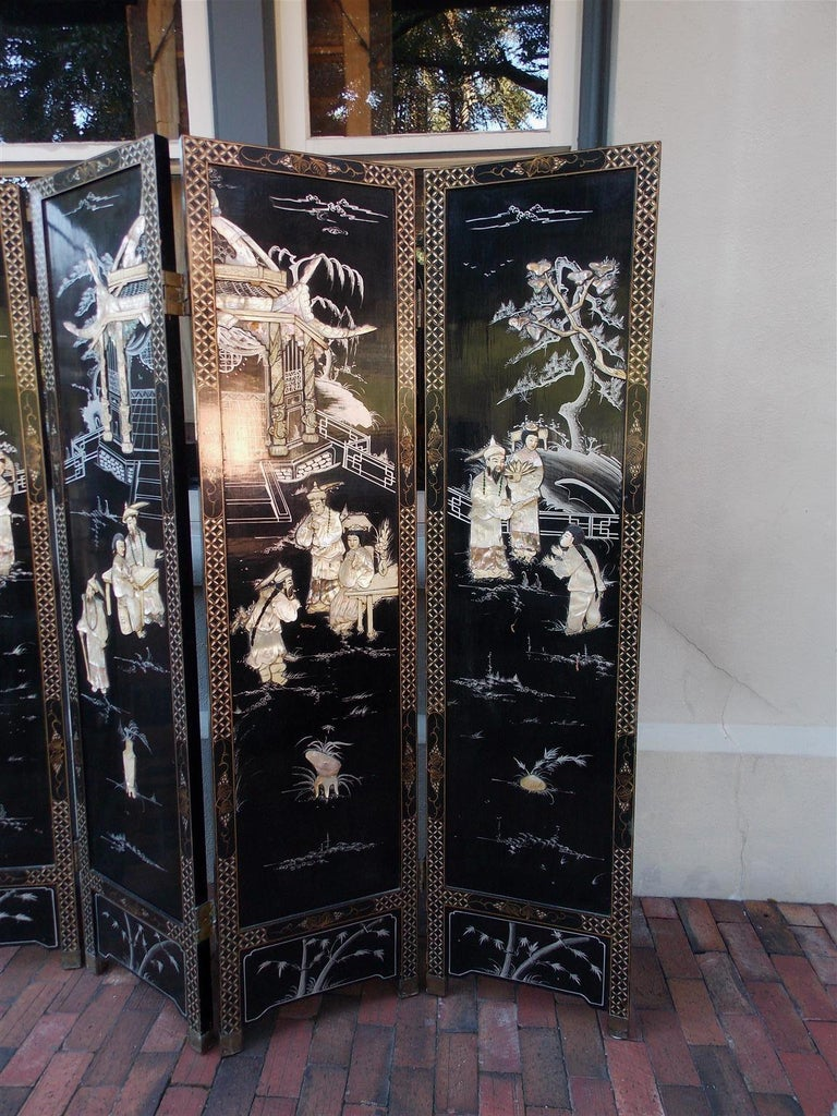 Hand-Carved Chinese Coromandel Black Lacquer Figural and Landscape Bone Screen, 20th Century For Sale