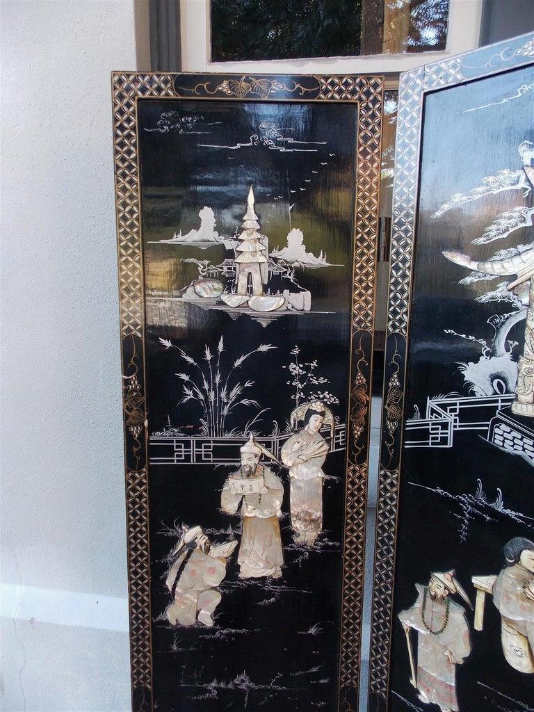 Chinese Coromandel Black Lacquer Figural and Landscape Bone Screen, 20th Century In Excellent Condition For Sale In Charleston, SC