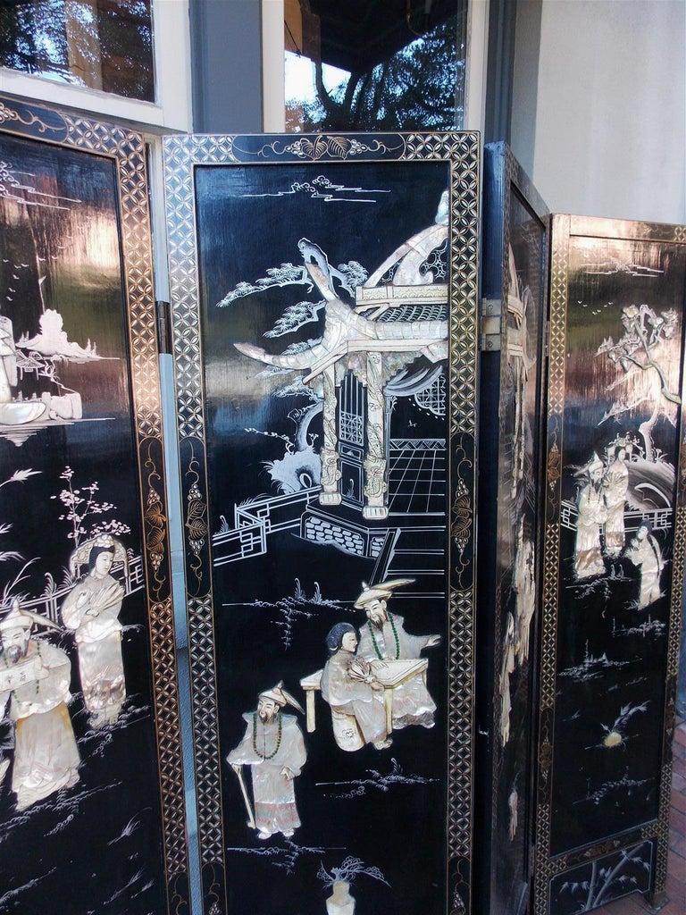 Brass Chinese Coromandel Black Lacquer Figural and Landscape Bone Screen, 20th Century For Sale