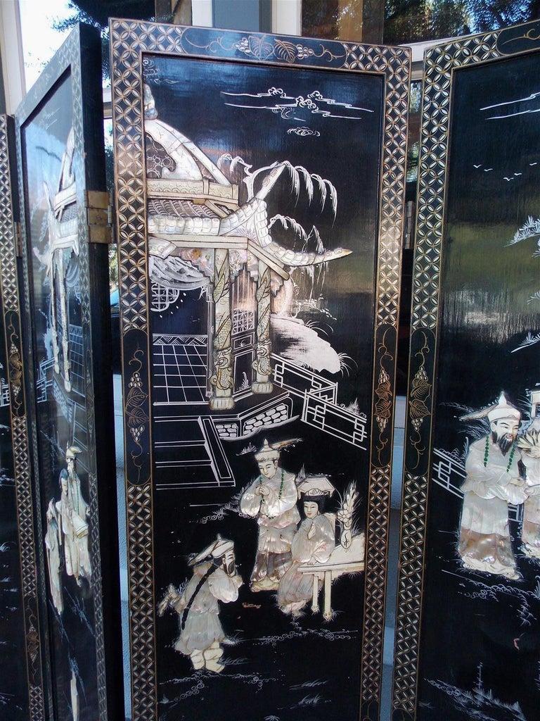 Chinese Coromandel Black Lacquer Figural and Landscape Bone Screen, 20th Century For Sale 1