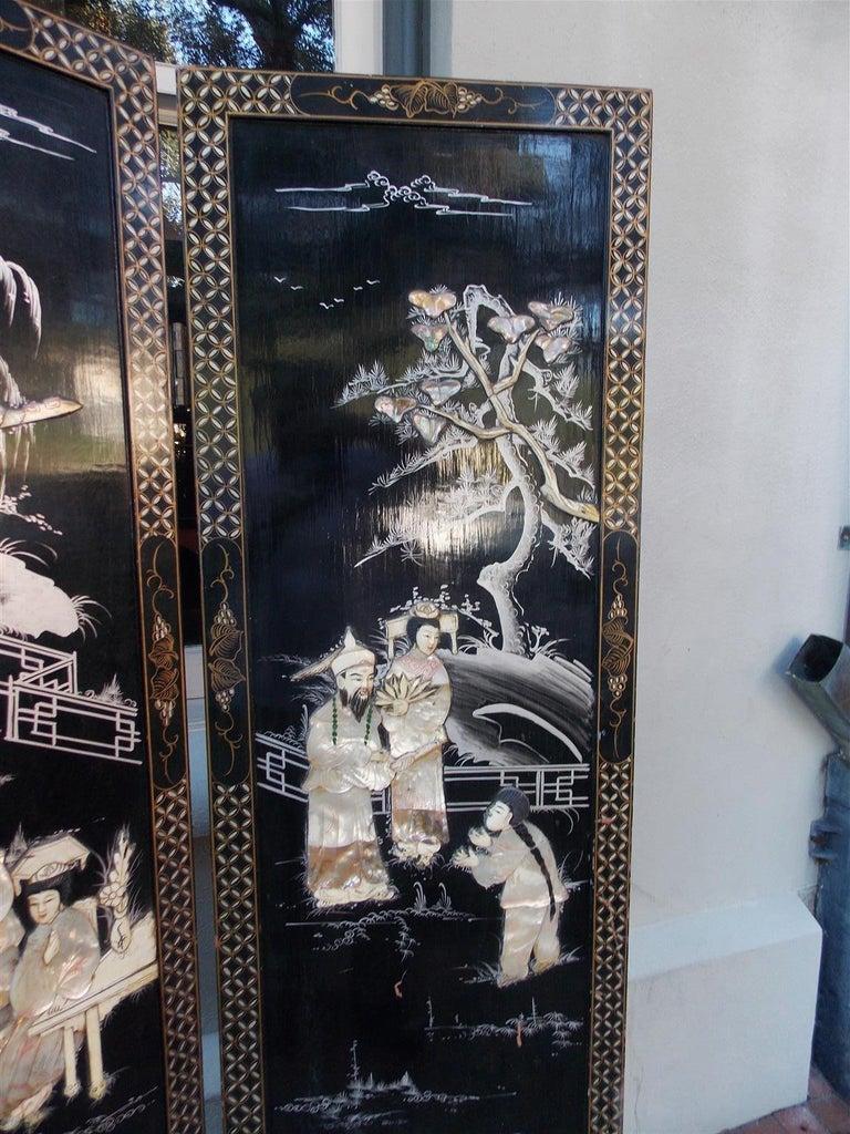 Chinese Coromandel Black Lacquer Figural and Landscape Bone Screen, 20th Century For Sale 2