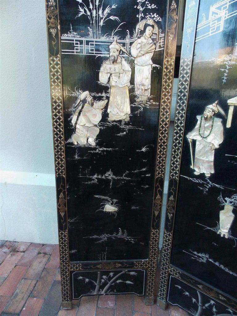 Chinese Coromandel Black Lacquer Figural and Landscape Bone Screen, 20th Century For Sale 3