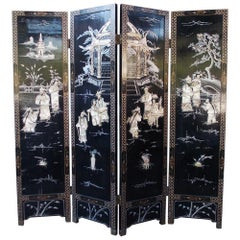 Chinese Coromandel Black Lacquer Figural and Landscape Bone Screen, 20th Century