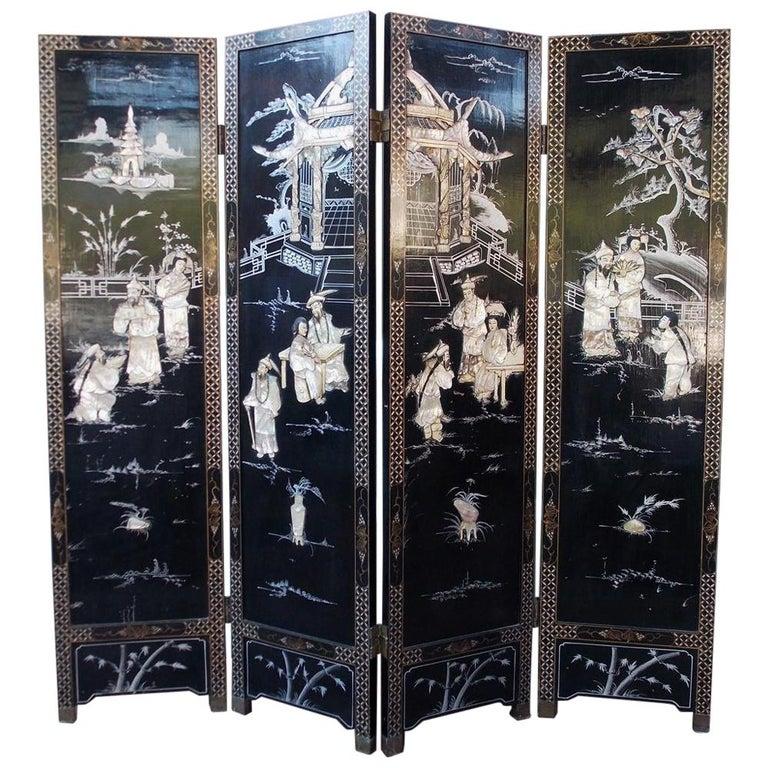 Chinese Coromandel Black Lacquer Figural and Landscape Bone Screen, 20th Century For Sale