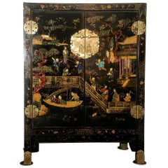 Chinese Coromandel Lacquer Cabinet Regency Period, Early 20th Century
