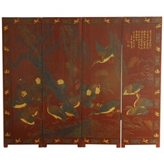 Chinese Coromandel Style Two-Sided Lacquer Screen