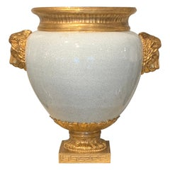 Chinese Crackle Glaze and Ormolu Lion Motif Urn