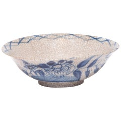Chinese Crackled Blue and White Bowl