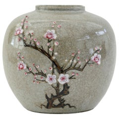 Chinese Craquel Glazed Flowering Hawthorn Porcelain Vase, 19th Century