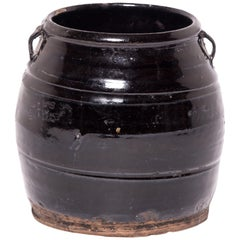 Chinese Dark Glazed Kitchen Jar, circa 1900