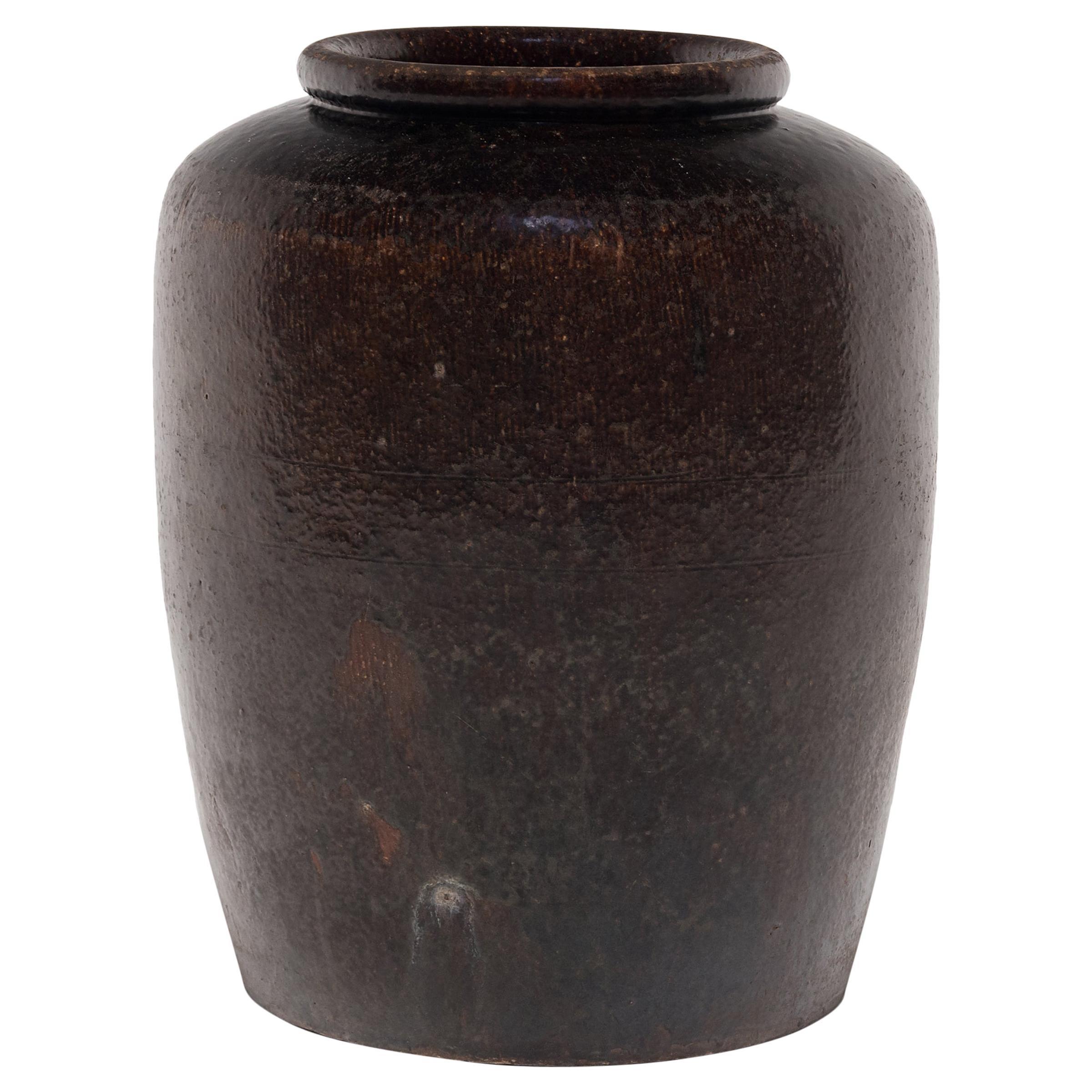 Chinese Dark Glazed Pickling Pot, circa 1900