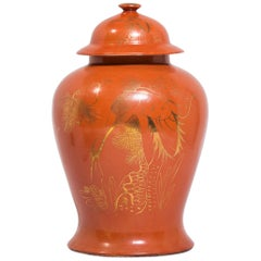 Chinese Deco Persimmon Baluster Jar with Gilt Crane