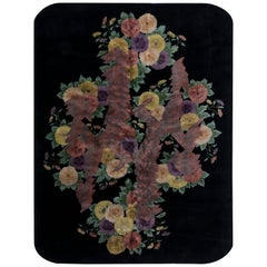 Chinese Mid Century Black and Lilac Handwoven Wool Rug