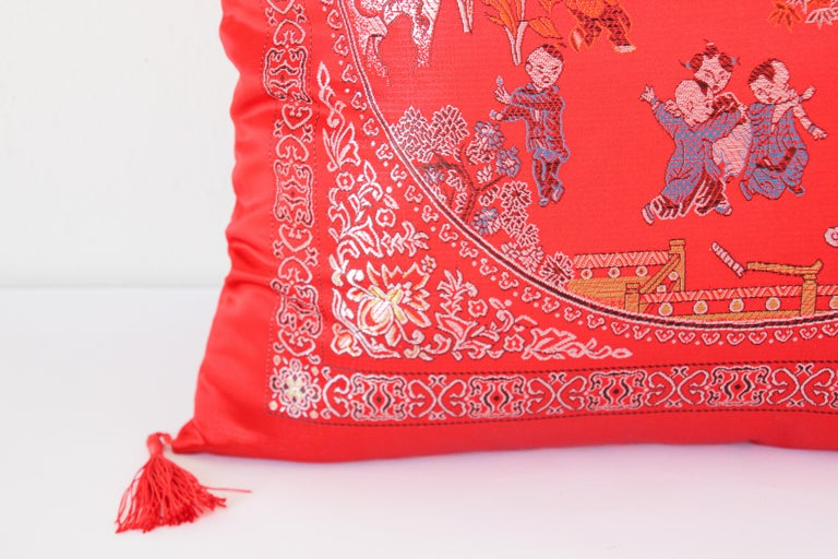 Chinese Decorative Red Throw Pillow with Tassels For Sale 4
